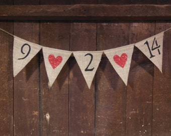 Save the Date Banner, Save the Date Bunting, Wedding Decor, Engagement Banner, Shower Decor, Burlap Banner Garland, Rustic, Photo Prop