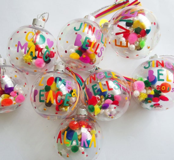 Diy Christmas Ornaments Etsy : Personalised christmas bauble colourful modern font hand