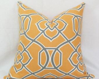 "Apricot & gray lattice decorative throw pillow cover. 18"" x 18"". 20"" x 20"" toss pillow."