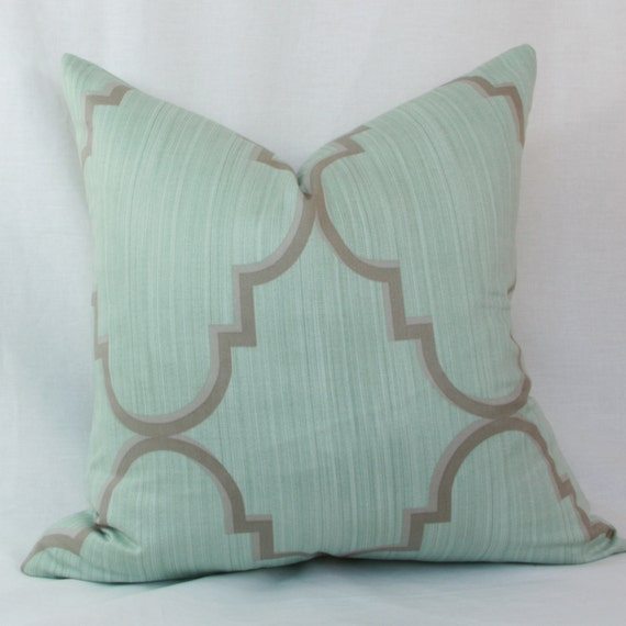light blue gray decorative throw pillow cover 18 x. Black Bedroom Furniture Sets. Home Design Ideas