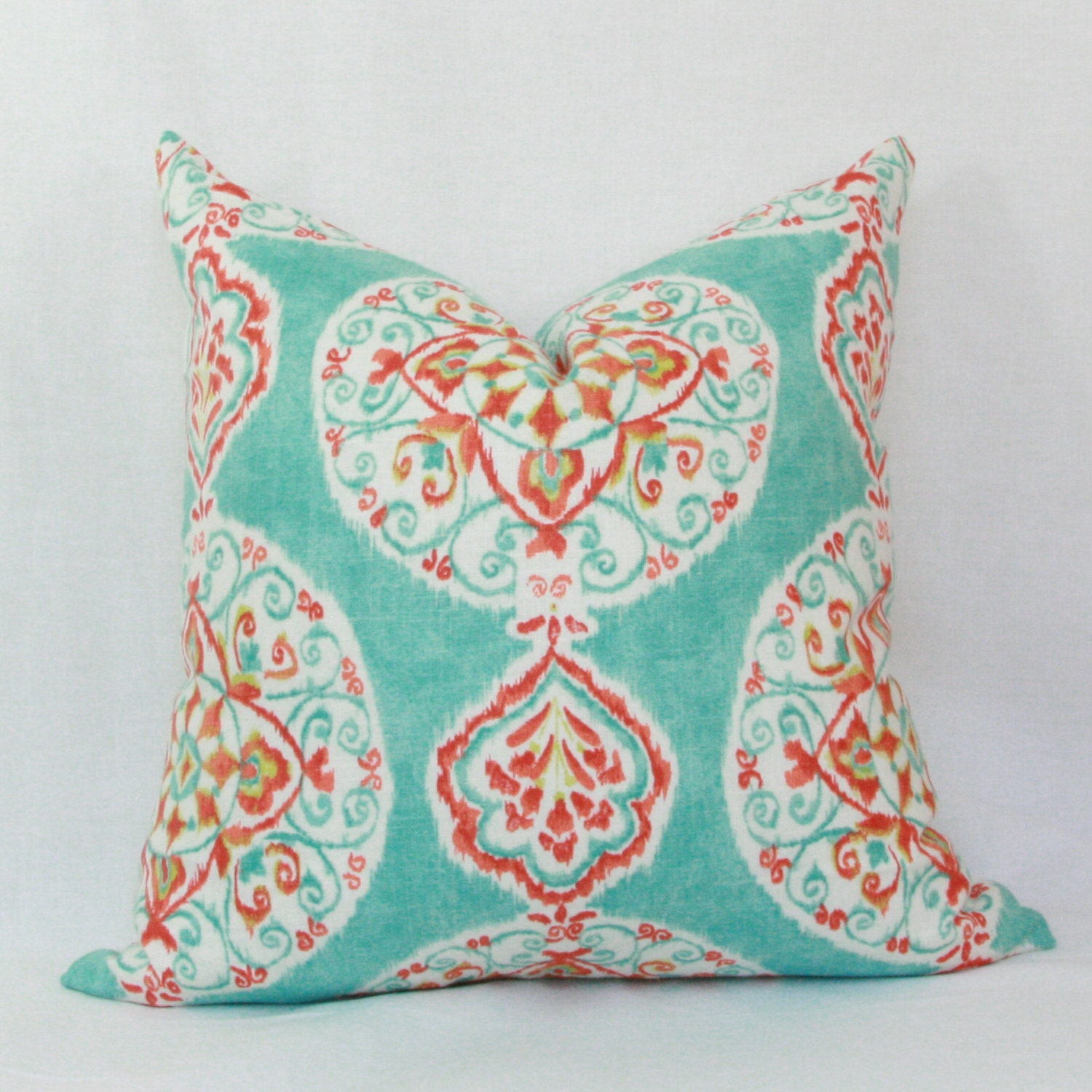 Throw Pillow Red : Aqua red orange decorative throw pillow cover. 18 x