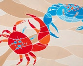 """Rock em Sock em"""" Fine Art Painting Print of 100 -- Bright Modern Colors - Fiddler Crab Beach Scene - Stained Glass Style"""