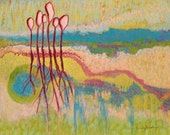 Yellow Green Blue Abstract Landscape Painting 14x18 Soft Pastels by Becky Roesler