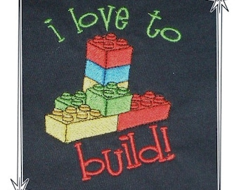 LEGO DESIGN on Kid's Sweatshirt or Tee with fun embroidery by Rosemary
