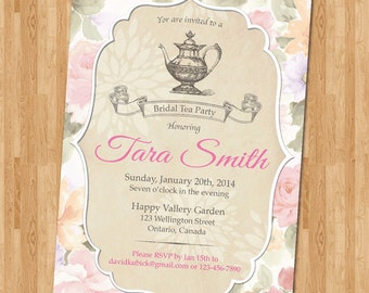 Tea party bridal shower invitation. Retro vintage baby shower invitations. Printable tea pot invites DIY. Baby bridal shower invite.