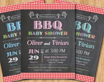 BBQ Baby Shower Invitation. BabyQ Shower Invitation. Chalkboard Co-ed Baby Shower Invite. Babyque Bbq Boy or Gril. Printable digital DIY.