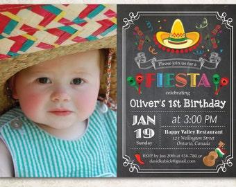 Chalkboard Fiesta Birthday Invitation. Cinco de Mayo Party Invite with custom photo. 1st first Birthday, any age. Festive. Printable Digital