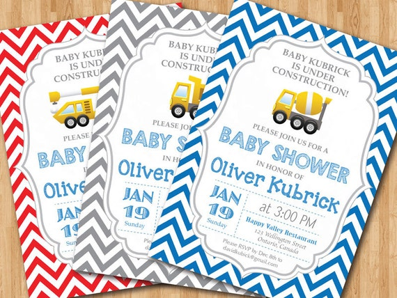 construction baby shower invitation baby boy chevron invites baby