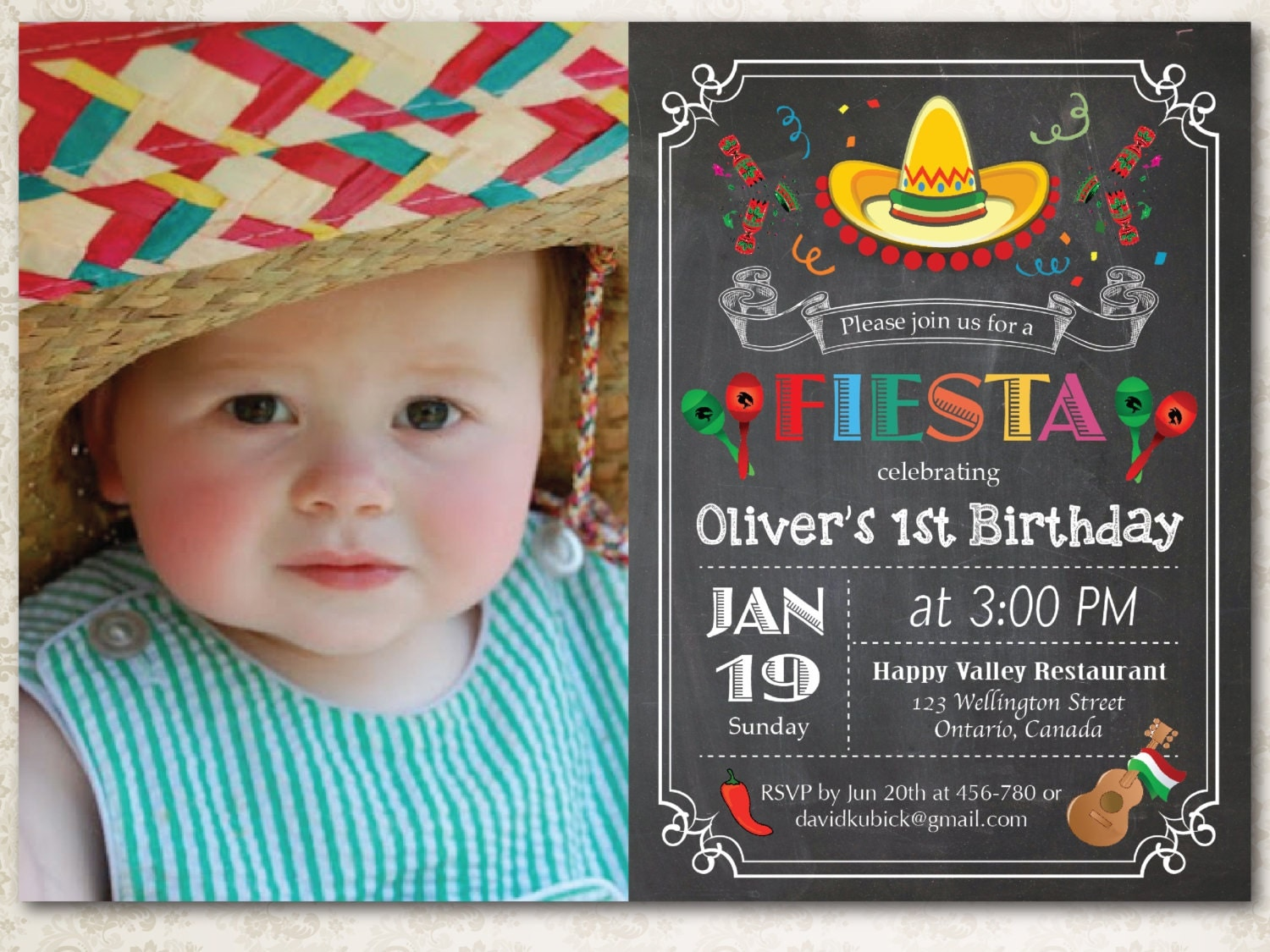 Chalkboard Fiesta Birthday Invitation Cinco de Mayo Party – Custom 1st Birthday Invitations