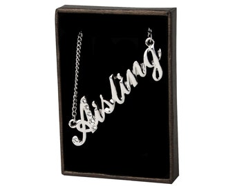 Name Necklace Aisling - White Gold Plated 18ct Personalised Necklace with Swarovski Elements
