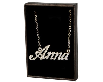 Name Necklace Anna - White Gold Plated 18ct Personalised Necklace with Czech Crystals