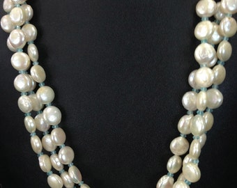 Radiant Luxe Triple Strand Coin Pearls Necklace