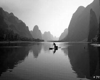 Black and White photography - Fisherman on Li River, Yangshuo, China landscape photo