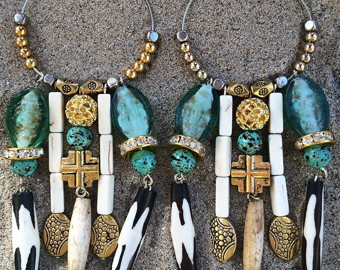 Handmade Tribal Earrings, Boho, Dangle, Festival, Western, Native, Runway, Bone, Cross, Glass, Turquoise, Statement (Shaman Earrings)