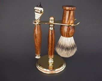 Custom Shaving Set - Zebrawood - Silvertip Brush - 24K Gold - Silvertip Shaving Brush - Fusion Razor