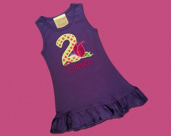 Girl's Birthday Dress with Butterfly, Number and Name