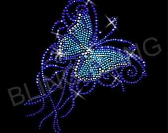 Rhinestones application, Theme: Blue Butterfly, 20 x 23cm