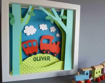 Personalised Baby Kids Children's picture - Train 3D Framed Handmade Paper Artwork