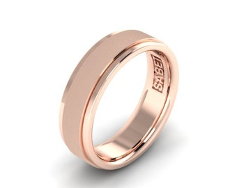 Rose Gold Mens Wedding Band 18k Rose Gold  7mm Brushed Center Smooth Edges Wedding Ring Mens Ring PDC113