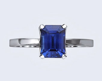 Sapphire Engagement Ring 7x5mm Emerald Cut Blue Sapphire 14kt White Gold Wedding Ring Nature Inspired Bloomed Love Ring