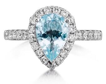 Aquamarine Engagement Ring 1.57CT Pear Shape Aquamarine .73ct Genuine Diamonds Halo Birthstone Ring Pear shape ring Pristine Custom rings