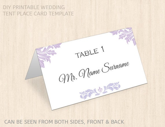 Items similar to tent place card template printable name place card editable pdf wedding for Tent place card template