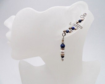 Blue Lapis, Gold, Silver and Pearls EarCuffs, pair, perfect for a formal event or just to feel special. For non pierced ears. Comfortable.
