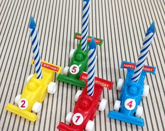 Race Car Candle Holders, 4 Indy Car Cake Toppers, Novelty Cupcake Picks, Plastic Auto Birthday Candle