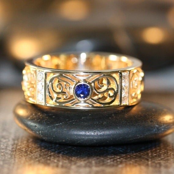 Celtic wedding ring 14k yellow gold bezel set sapphire diamond wedding
