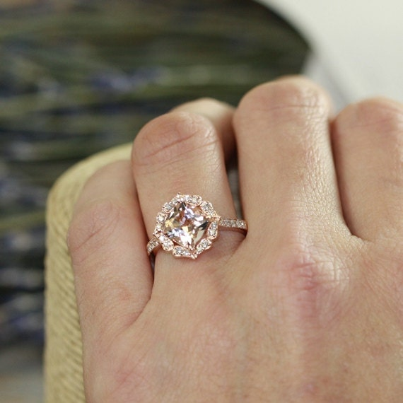 Vintage Floral Morganite Engagement Ring in 14k by LaMoreDesign