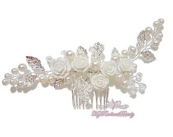 Bridal Hair Comb, Wedding Comb, Bridal Comb, Headband, Pearl Crystal white Flower Silver Leaves Hair Comb, Bridal Hair Accessories HC0013