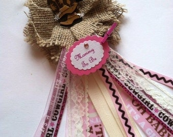 Rustic Burlap Western Mommy To Be Corsage Pink & Burlap Mommy To Be Corsage its a Girl Baby Shower Corsage