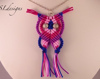Pink macrame owl necklace