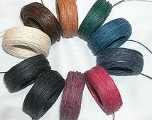 10 yd 5 ply WAXED Linen Cord - Thread  .7mm dia