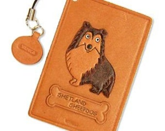 Shetland Sheep Dog Leather Dog Commuter Pass/Pass/Card/ID/Badge Case/Holder/Holders *VANCA* Made in Japan #26466 Free Shipping