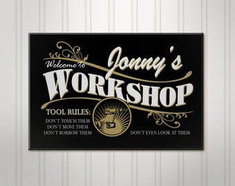 Personalized Work Shop Sign, Custom Wood Workshop, Men's Tool Room, Personalized Sign, Personalized Mancave Name Sign
