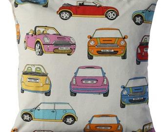 Minis Car, Pillow cover, ecru cushion, beige cushion, cars throw cushion, decorative pillow, children decor, cars bed decor, sofa decor.