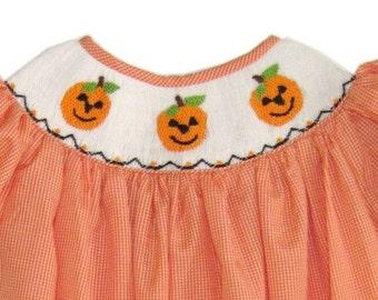 Hand Smocked Orange Gingham Pumpkin Long Bubble