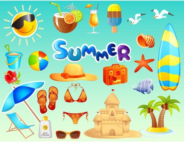 Instant Download Beach Fun Clip Art Summer Vacation Travel
