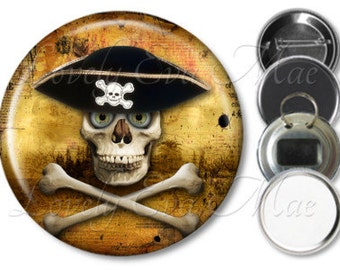 Pirate Skull & Cross Bones Pocket Mirror Skull Mirror, Skull Magnet, Bottle Opener, Key Ring, Pin Back Button, Skull Keychain, Pirate Gifts