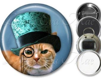 Steampunk Cat Pocket Mirror, Magnet, Bottle Opener Key Ring, Pin Back Button