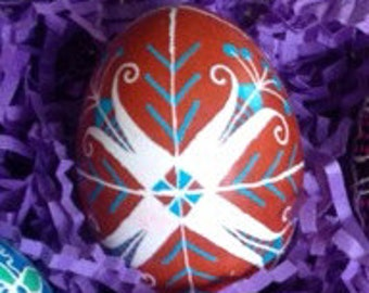 Brown, blue, and white Pysanky egg