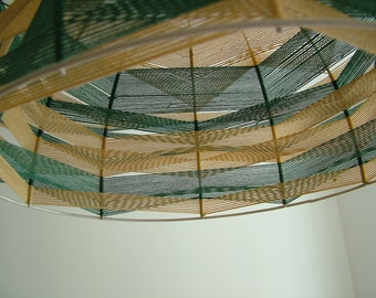 Handmade lighting hanging chandelier with stripes motifs made by weaving