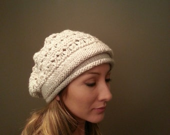 Free Shipping Women's Slouchy Off White Beanie Hat