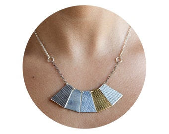 silver and goldplate urban multitexture necklace