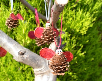Christmas decorations - Hanging Fairy Pine Cones