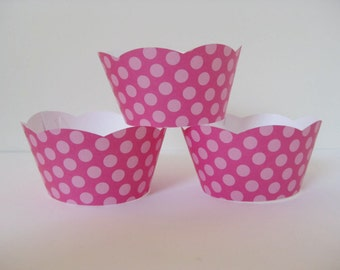12 Pink Polka Dot Cupcake Wrapper, Polka Dot Cupcake Wrappers, Baby Shower Cupcake Wrappers, Birthday Cupcake Wrappers