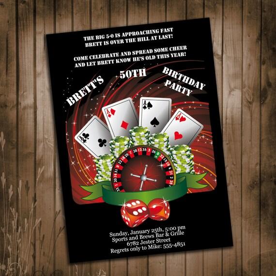 Casino party invitations birthday