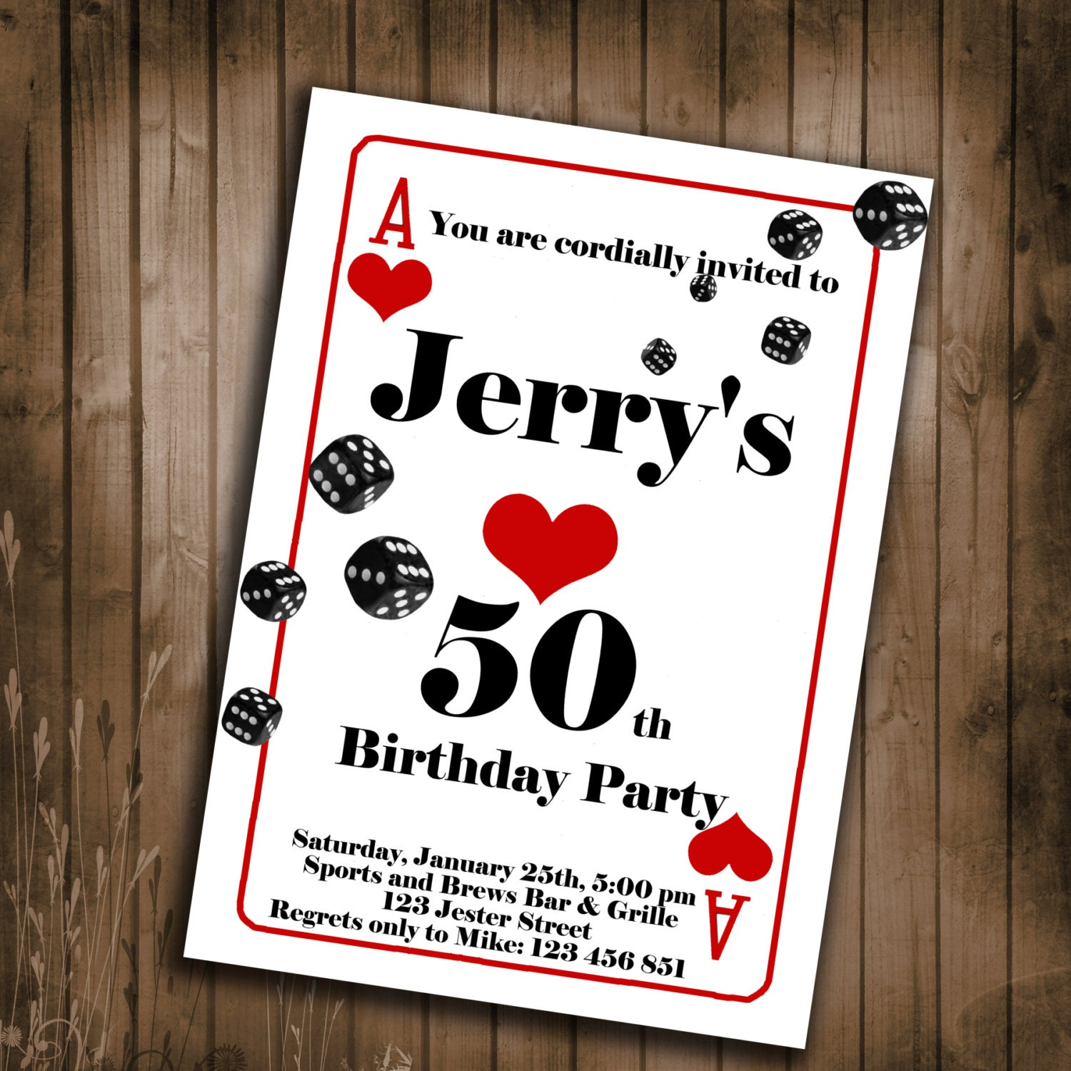 Playing Card Birthday Party Invitation Invitations for guys – Playing Card Invitation