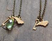 NC Charm Necklaces // Brass North Carolina Necklaces // Brass Key Necklace